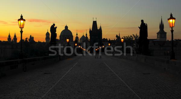 Ponte all'alba Praga Repubblica Ceca costruzione lampada Foto d'archivio © phbcz