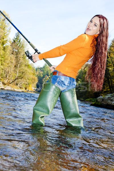 Foto stock: Mulher · pescaria · rio · República · Checa · mulheres · jovem