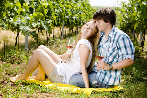 couple at a picnic in vineyard Stock photo © phbcz