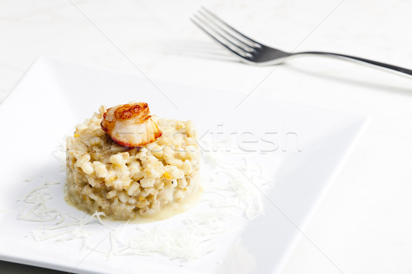 fried Saint Jacques mollusc with pearl barley risotto Stock photo © phbcz
