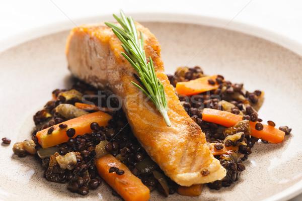 łososia filet marchew ryb tablicy Zdjęcia stock © phbcz