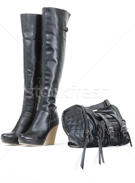ファッショナブル プラットフォーム 黒 ブーツ ハンドバッグ スタイル ストックフォト © phbcz