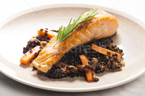Salmone filetto carota pesce piatto Foto d'archivio © phbcz