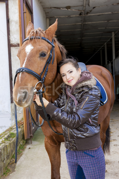 portrait of equestrian with her horse Stock photo © phbcz