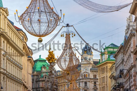 Graben Street at Christmas time with Plague Column, Vienna, Aust Stock photo © phbcz