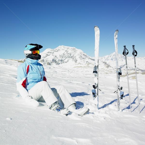 женщину лыжник Альпы гор Франция спорт Сток-фото © phbcz
