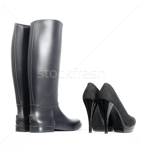 platform black pumps with black rubber boots Stock photo © phbcz