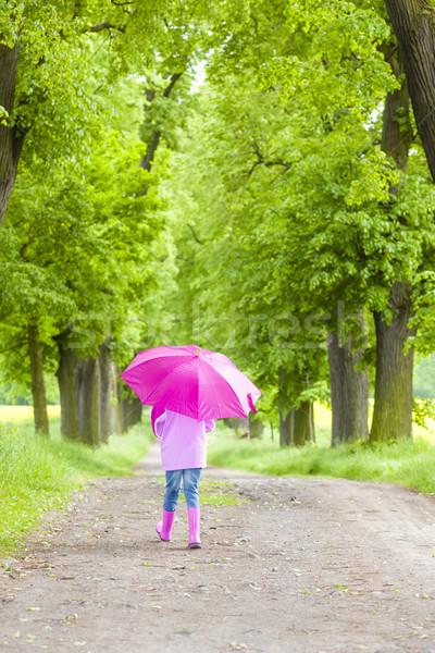 Bambina indossare stivali di gomma ombrello primavera vicolo Foto d'archivio © phbcz