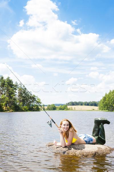 若い女性 釣り 池 夏 女性 ビキニ ストックフォト © phbcz
