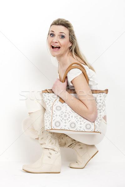 Nő visel nyár csizma kézitáska póló Stock fotó © phbcz