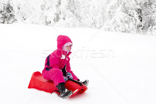 Kislány lány gyermek hó gyerek fiatalság Stock fotó © phbcz