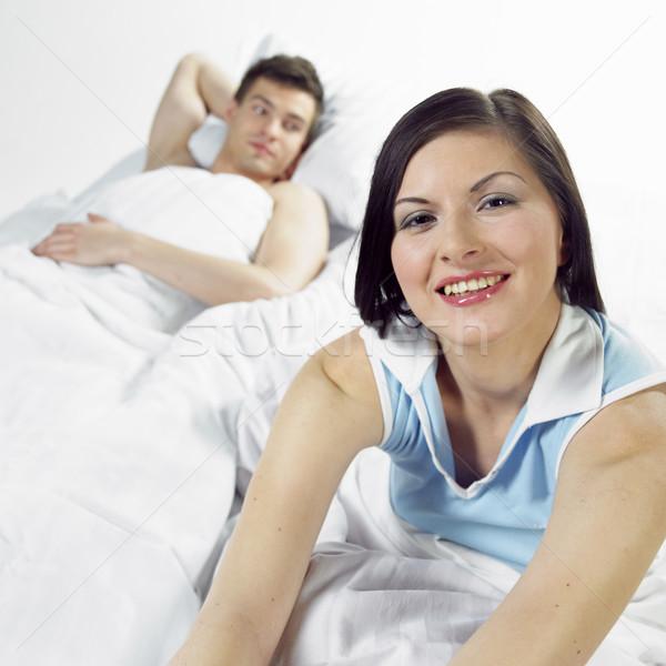 Foto stock: Casal · mulher · amor · homem · relaxar · casais