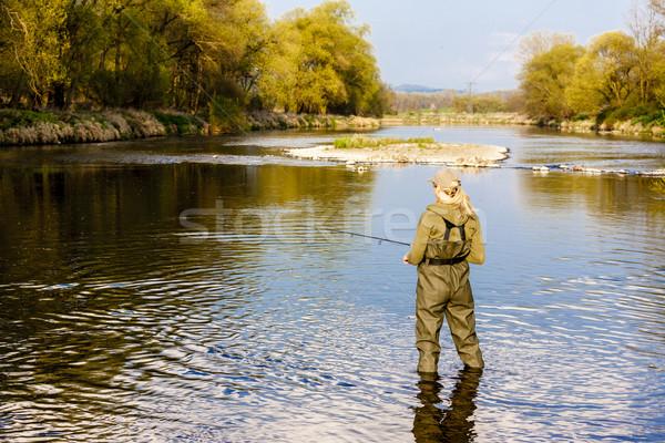 женщину рыбалки реке весны женщины расслабиться Сток-фото © phbcz