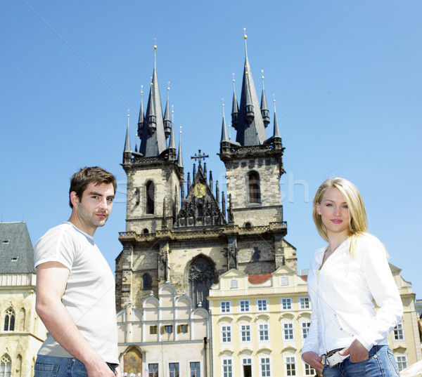 couple in Prague, Tynsky church, Old Town Square, Czech Republic Stock photo © phbcz