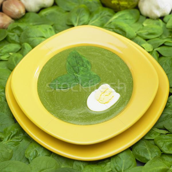 Room spinazie soep voedsel eieren plaat Stockfoto © phbcz