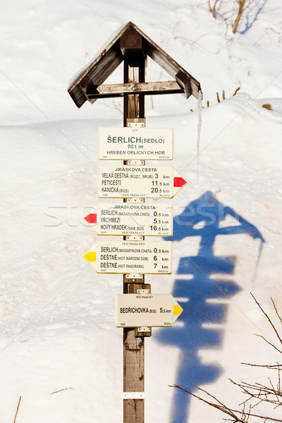 Stock photo: guidepost at Serlich, Orlicke Mountains, Czech Republic