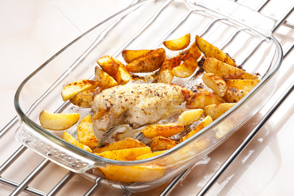 turkey meat on pepper baked with American potatoes Stock photo © phbcz