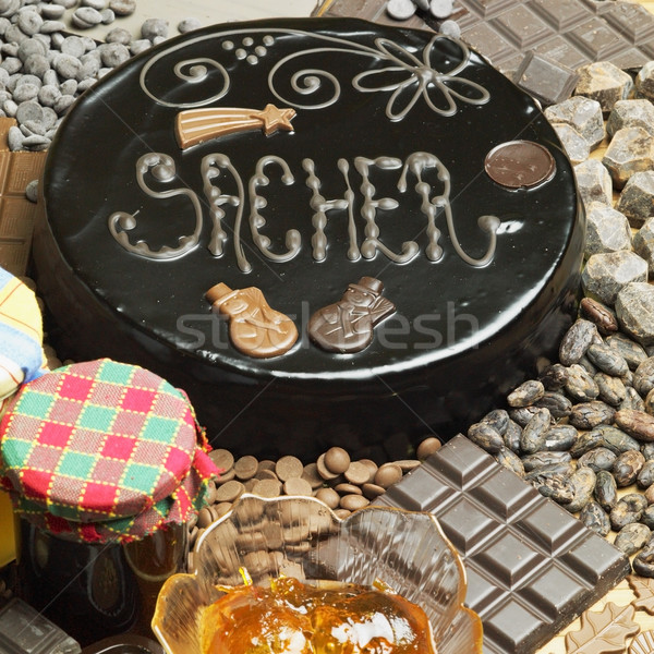 Sacher cake's still life Stock photo © phbcz
