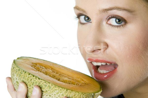 portrait of woman with melon cantaloupe Stock photo © phbcz