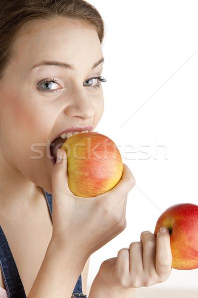 Stok fotoğraf: Portre · kadın · elma · meyve · meyve · genç