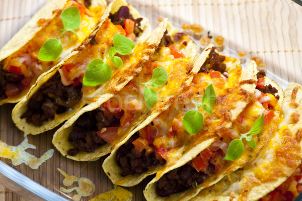 Tacos tomates viande alimentaire fromages Photo stock © phbcz