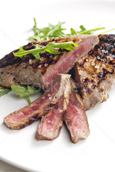 Grillowany befsztyk musztarda tablicy stek posiłek Zdjęcia stock © phbcz