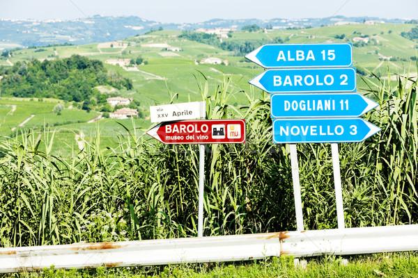 signposts near Barolo, Piedmont, Italy Stock photo © phbcz