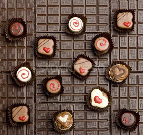 chocolate bars with chocolate candies Stock photo © phbcz