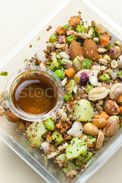 legume salad with almonds Stock photo © phbcz