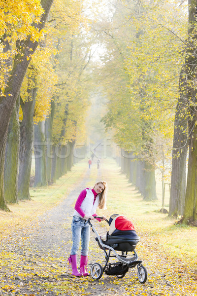 woman with a pram on walk in autumnal alley Stock photo © phbcz