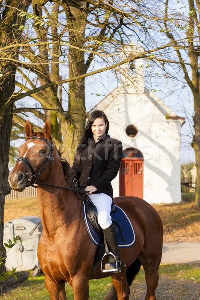 equestrian on horseback, Lomec, Czech Republic Stock photo © phbcz