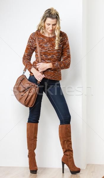 Permanente vrouw jeans handtas persoon Stockfoto © phbcz