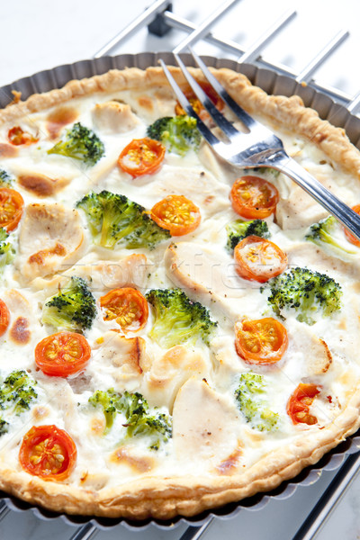 cake with broccoli, cherry tomatoes and chicken meat Stock photo © phbcz