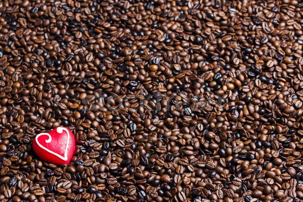 Stockfoto: Stilleven · koffiebonen · marsepein · hart · voedsel · Rood