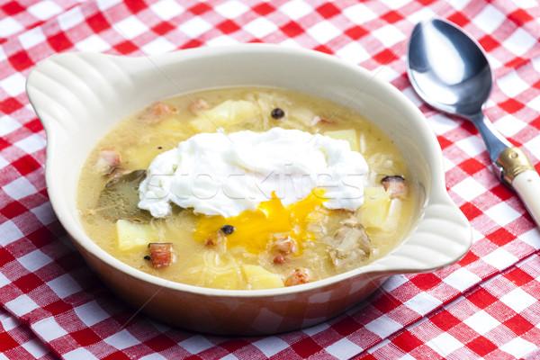 Savanyú káposzta leves tojás kanál krumpli étel Stock fotó © phbcz