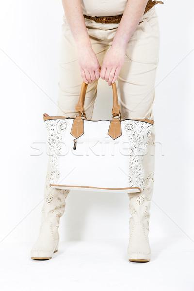 подробность Постоянный женщину лет сапогах Сток-фото © phbcz