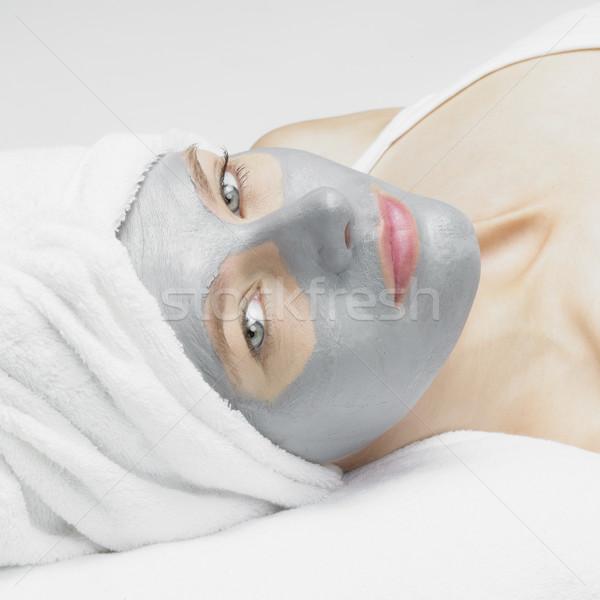 Kobieta maska piękna twarze młodych sam Zdjęcia stock © phbcz