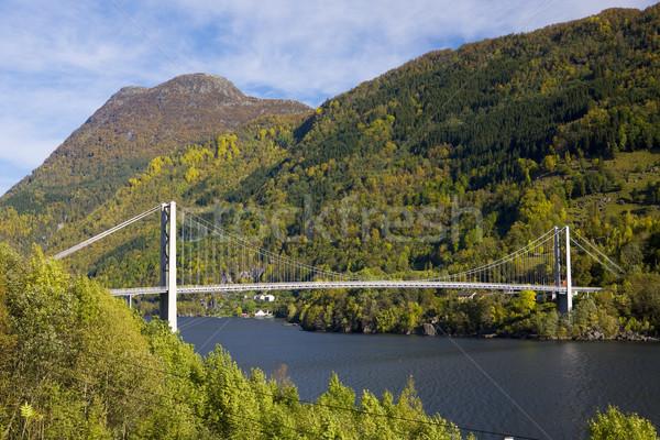 bridge by Haldanger fjord, Norway Stock photo © phbcz