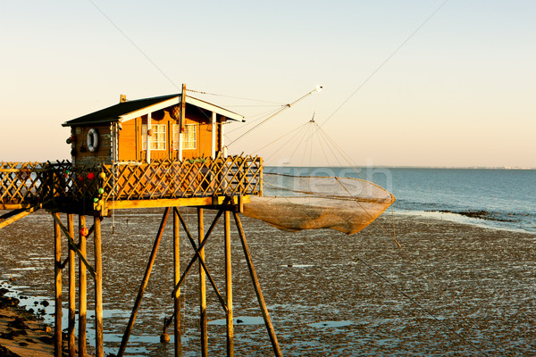 Stock photo: fishing house with fishing net, Gironde Department, Aquitaine, F