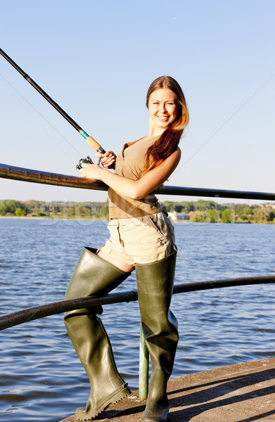 young woman fishing at pond Stock photo © phbcz