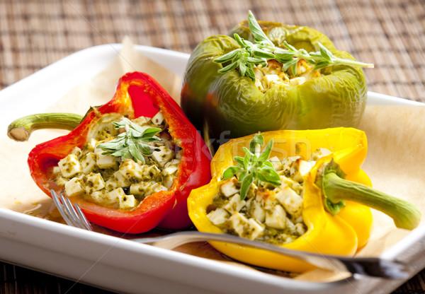 Poivrons alimentaire fourche légumes Photo stock © phbcz