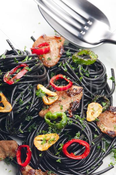 Sepia espaguetis Turquía carne chile alimentos Foto stock © phbcz