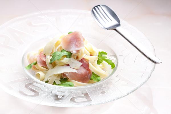 Tagliatelle prosciutto placa cuchara cohete comida Foto stock © phbcz