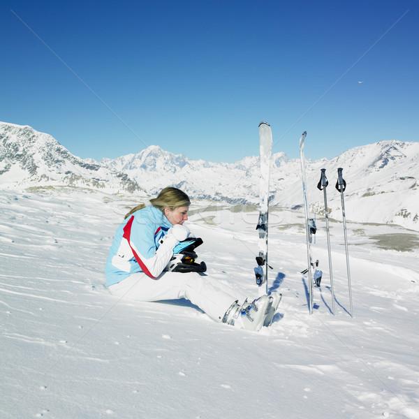 女性 スキーヤー アルプス山脈 山 フランス スポーツ ストックフォト © phbcz