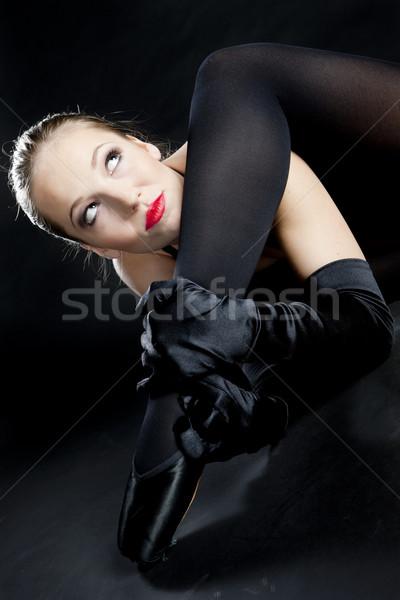 portrait of ballet dancer in black clothes Stock photo © phbcz