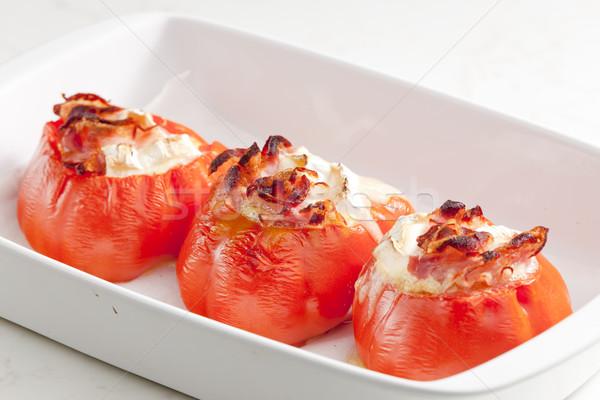 Gebakken tomaten geitenkaas plaat groenten plantaardige Stockfoto © phbcz