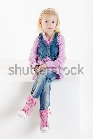 áll kisgyerek merítőkanál lány gyerekek gyermek Stock fotó © phbcz