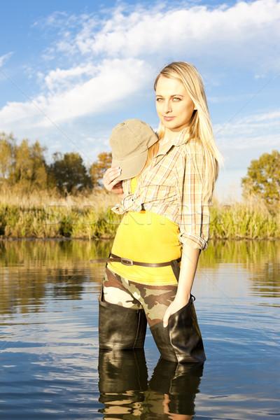 漁師 女性 立って 池 女性 リラックス ストックフォト © phbcz