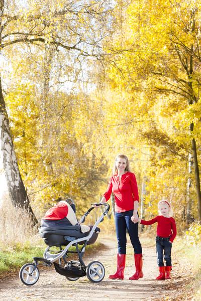 Anya lánygyermek babakocsi séta őszi sikátor Stock fotó © phbcz