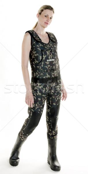 Rybak kobieta studio kobiet osoby stałego Zdjęcia stock © phbcz